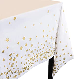 Plastic Gold Star Tablecloth I 4 PACK - Party Table Cloths Disposable Tablecloths for Parties, Birthdays, Weddings I Twink...
