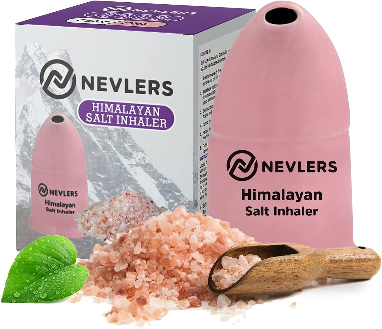 Nevlers All Natural Ceramic Himalayan Salt Inhaler with All Natural Himalayan Pink Crystal Salt - Great for Allergy and Asthma Relief - Handheld and Portable - Pink : Everything Else