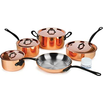 Mauviel M'heritage M250C 9-piece 2.5-mm Copper Cookware Set with Cast Stainless Steel Handles w/Black Iron Finish