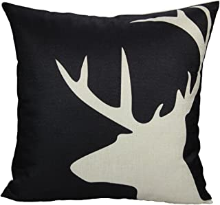 All Smiles Black White Deer Throw Pillow Case Cushion Cover Nordic Reindeer Buck Antler 18x18