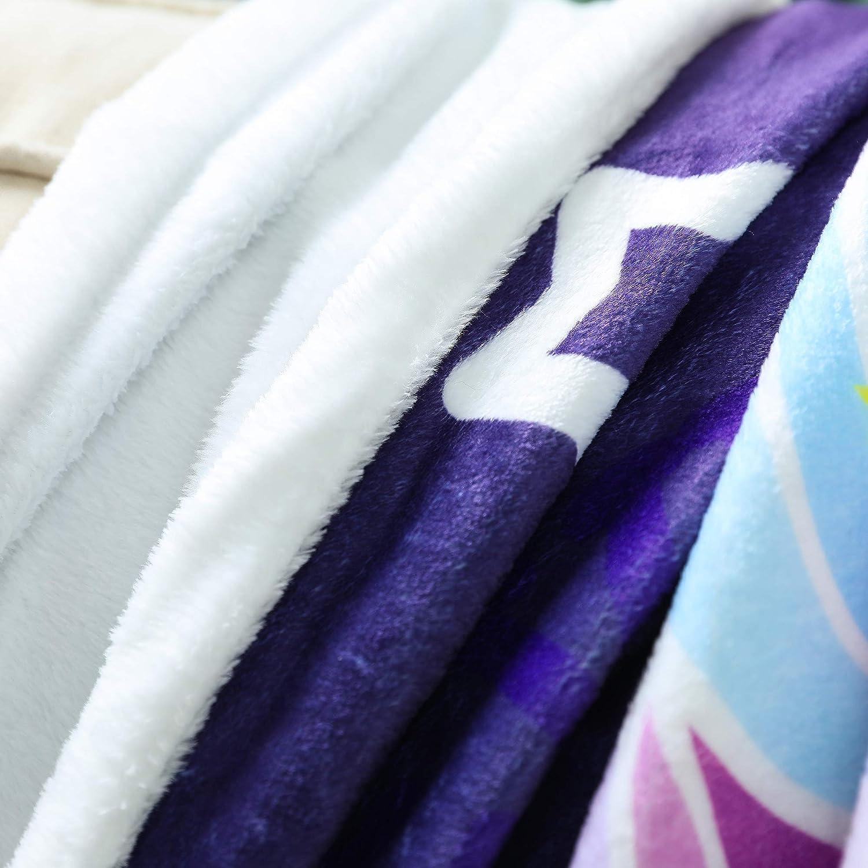 Decke lila Sofa Einhorn, 121,9 x 152,4 cm Zevrez Weiche Einhorn-Decke f/ür M/ädchen Decke Pl/üsch-Fleece Sherpa-/Überwurf Bett gro/ß f/ür Couch s/ü/ßes Einhorn mit Blumenmuster Stuhl