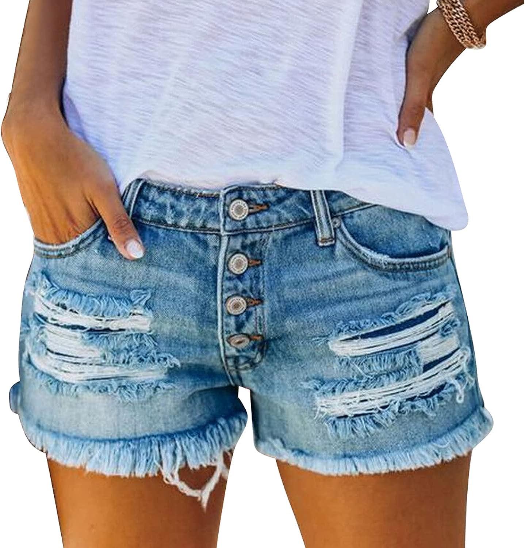 ddshijia Denim Shorts Women's Distressed Raw-Edge Ripped Shorts Summer High Waisted Denim Shorts
