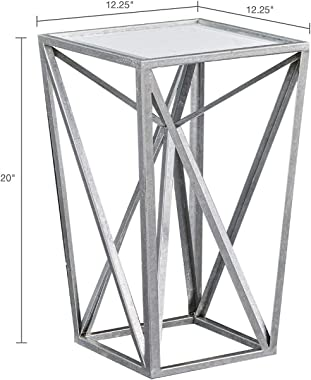 Madison Park Zee Accent Tables For Living Room, Glass Top Hollow, Small Metal Frame Geometric Angular Design Luxe Modern Styl