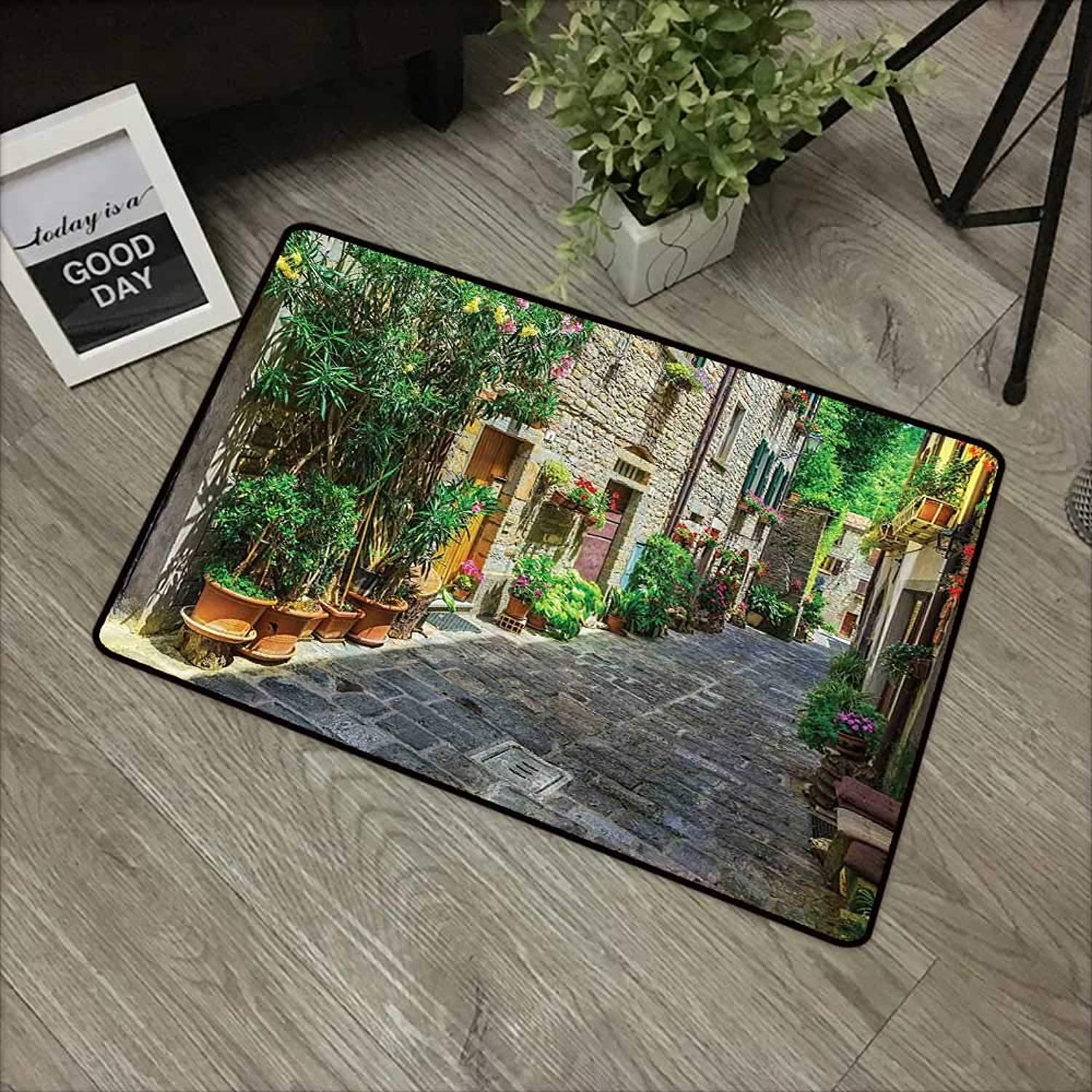 Restaurant mat W35 x L59 INCH Tuscan,Doorway to Tuscan House Build with Cobblestone with Many Flowering Plants,Green Beige Grey Non-Slip, with Non-Slip Backing,Non-Slip Door Mat Carpet