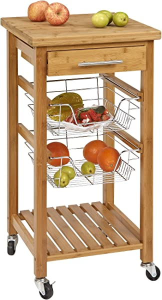 SpaceMaster SM CSK 007 Rustic Bamboo 1 Drawer Rolling Kitchen Cart With Wire Storage Baskets Brown