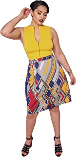 ce0e8d6e8b8c1 Rebdolls Womens Cocktail A-Line Abstract Print Mini Skirt with Zipper -  Plus Sizes