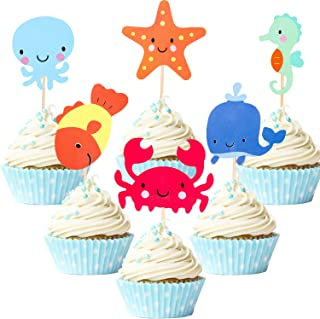 72 Pieces Nautical Cupcake Toppers for Ocean Sailing Theme Party Birthday Party Baby Shower Wedding Party Decorations (Fish, Starfish, Whale, Octopus, Crab, Sea Horse)