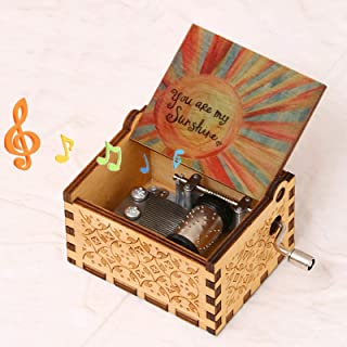 TUOZFLY Music Box Gift, You Are My Sunshine Wooden Music Boxes Kid Toys Hand Crank Engraved Present for New Year/Holiday/B...