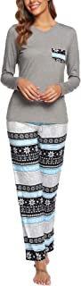 Image of Comfy Soft Gray and Blue Winter Reindeer Pajamas for Women - See More Colors