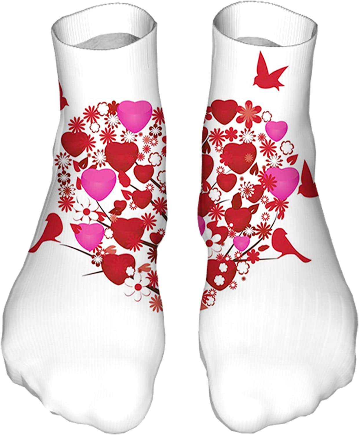 Women's Colorful Patterned Unisex Low Cut/No Show Socks,Image of Abstract Love Tree with Hearts Flowers and Birds