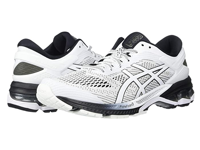 ASICS  GEL-Kayano 26 (White/Black) Womens Running Shoes