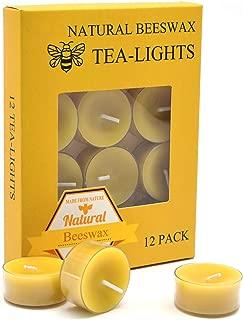 12pcs Natural Beeswax Tealight Candles - Organic Candle Natural Scent Smokeless Clean Burning