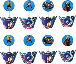 24pc Superhero Cupcake Topper and Cupcake Wrapper Picks Boy Children Superhero Party Decoration Kid's Birthday Avengers Party Decoration Supplies
