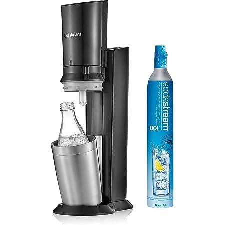 SodaStream Crystal 2.0, avec bouteille en verre allant au lave-vaisselle pour votre eau gazéifiée avec 1 cylindre et 1 carafe en verre 0,6l Couleur: Arroseur à eau potable Titan, acier brossé, 130 cm