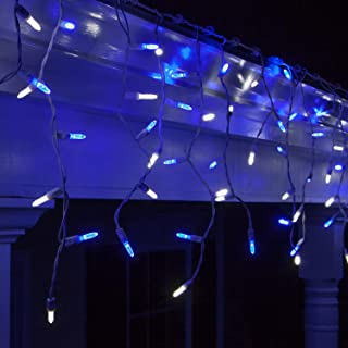 70 M5 LED Blue and Cool White Icicle Lights Outdoor Colored Icicle Lights, 7' on White Wire, Blue Icicle Lights White LED Icicle Lights (M5 Lights, Blue/Cool White)