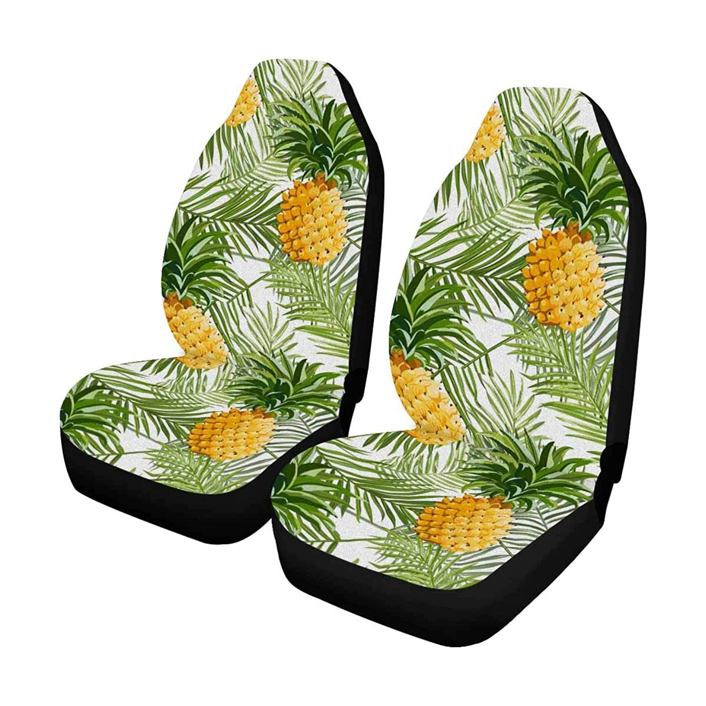 INTERESTPRINT Tropical Palm Leaves and Pineapples Auto Seat Covers Full Set of 2, Bucket Seat Protector Car Seat Cushions for Car, SUV, Truck or Van