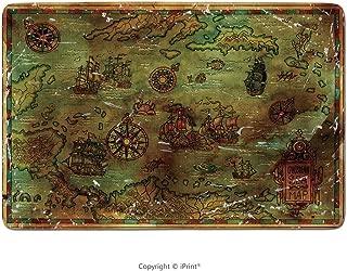 Memory Foam Bath Mat, Antique Caribbean Sea Map On Old Texture. Decorative Antique Background with Nautical Chart, Adventure Treasures Hunt Concept, Watercolor Hand Drawn Illustration,Rubber Non Slip