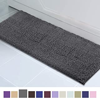 ITSOFT Non Slip Shaggy Chenille Soft Microfibers Runner Large Bath Mat for Bathroom Rug Water Absorbent Carpet, Machine Washable, 21 x 59 Inches Charcoal Gray