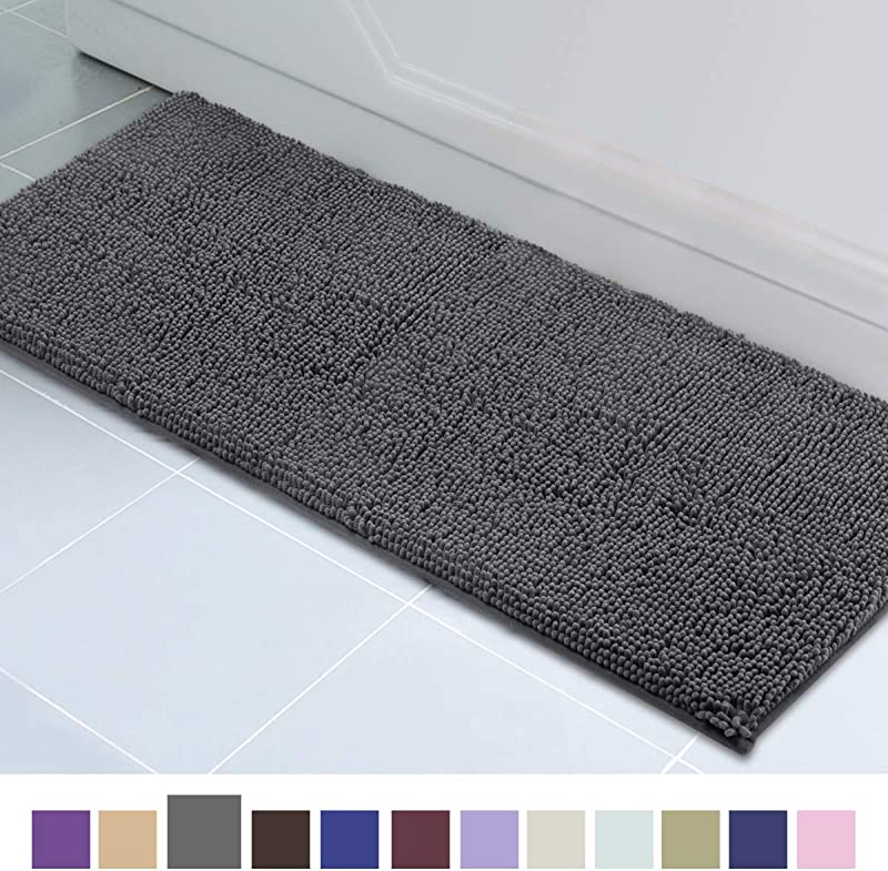 ITSOFT Non Slip Shaggy Chenille Soft Microfibers Bathroom Rug With Water Absorbent Machine Washable 21 X 59 Inches Charcoal Gray