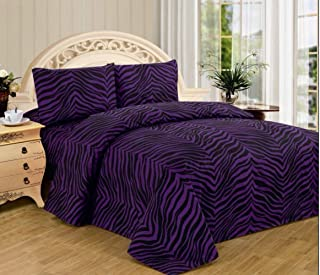 4 Piece Zebra Animal Jungle Print Super Soft Executive Collection 1500 Series Bed Sheet Set (Twin, Purple Zebra)