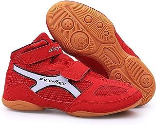 FJJLOVE Kids Wrestling Shoes, High-Top Boxing Shoe Lightweight Wrestling Boots Non-Slip for Children Girl Boy Teenage,Red,32
