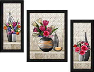 ARTAMORI Beautiful Flower Art 3 Piece Painting with Synthetic Frame