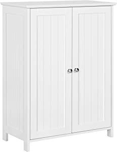 YAHEETECH Bathroom Floor Storage Cabinet, Free-Standing Side Cabinet with 2 Doors Inner Adjustable Shelves, 23.6 x 11.8 x 31.7 Inches, White