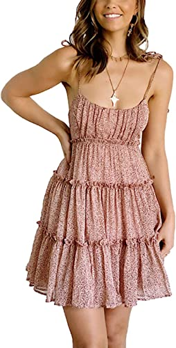 Cosygal Women's Summer Loose Floral Backless Spaghetti Strap Tiered Mini Dresses