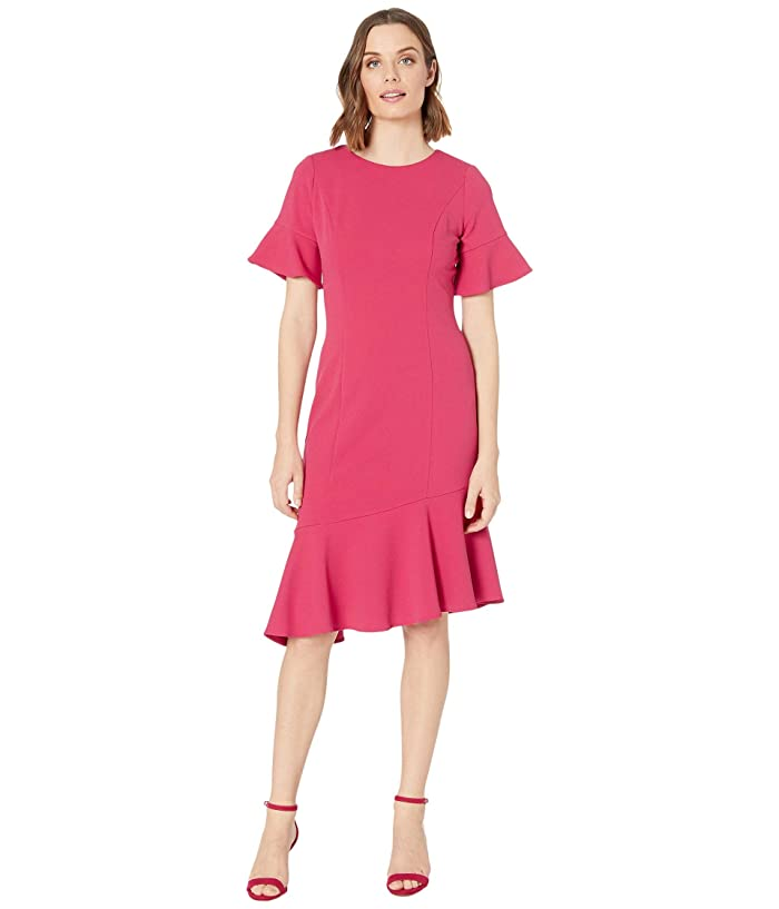 Adrianna Papell  Knit Crepe Ruffle Midi Dress with Bell Sleeve (Warm Cherry) Womens Dress