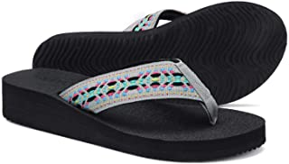 Woman's Platform Flip Flop with Arch Support, Comfortable Yoga Mat Wedge flip-Flops, Athletic Walking Thong Slippers for Vacation/Shopping mall/Wandering/Gathering