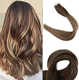 Full Shine 20 inch Skin Weft Hair Extensions Highlight Balayage Color #4 Medium Brown Fading to Color #24 Light Blonde and Color #4 Double Side Tape in Remy Hair Extensions