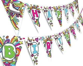 Roller Skating Rainbow Happy Birthday Banner Pennant