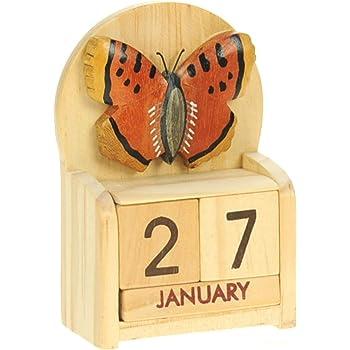 Farfalla : legno calendario perpetuo: tradizionale a mano Idee Regalo di Natale: Dimensioni 10,5 x 7 x 3,5 centimetri: Compra un insolito e stravagante regalo di Natale alternativo per un calendario dell'Avvento: unico e nuovo regalino: Regali per tutte le età! regalo per sempre