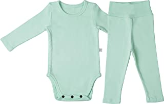 AVAUMA Baby Boys Girls Solid Pring Bodysuits Set Kids Pajamas Long Sleeve Cotton