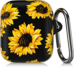 COBBEN Case Cover Compatible with Airpods Case,Soft Fadeless Sunflowers Printed Floral Design Shockproof IMD Cover with Durable Metal Keychain for AirPods 2&1 Charging Case