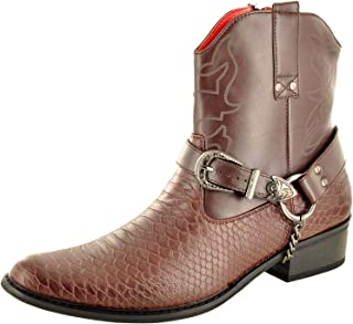 My Perfect Pair Mens Snake Skin Full Zip Western Cowboy Ankle Boots