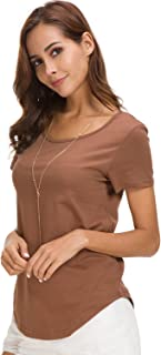 Coreal Womens Casual Curved Hem Solid Color Sleeve T-Shirt Tops Tunic tees