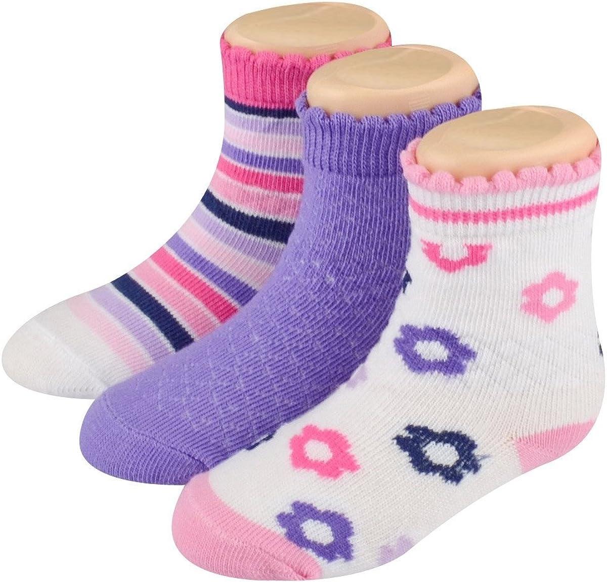 Stride Rite Socks Girls Infant Layla Floral & Stripes Asst. 3pair