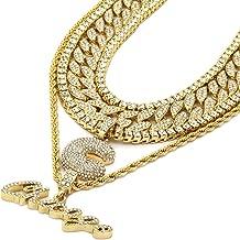 6 pcs Bundle Set 14k Gold Plated Hip Hop Fully Cz Chain C Chicago Pendant