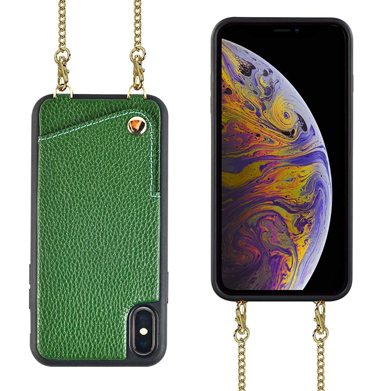 iPhone Xs Wallet Case, iPhone Xs Crossbody Case, JLFCH iPhone X Case with Card Slot Holder Crossbody/Shouder Strap Purse Handbag Case for Apple iPhone X/XS 5.8 inch - Dark Green ndqqdmdqwuka6095