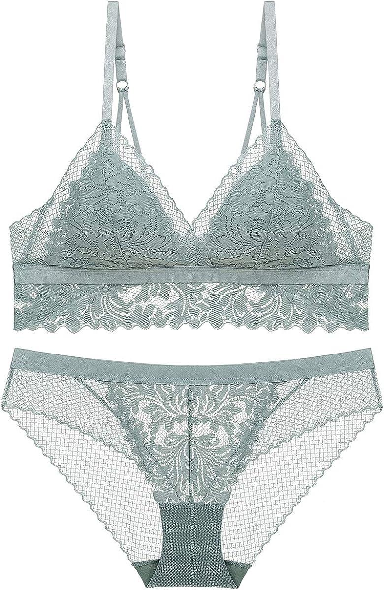 SHEKINI Women's Lace Triangle Floral Bra Wirefree Lingerie Bra and Panties Set