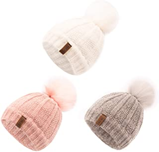 Kids Winter Hat Chenille Warm Fleece Lined Pompom Hats...