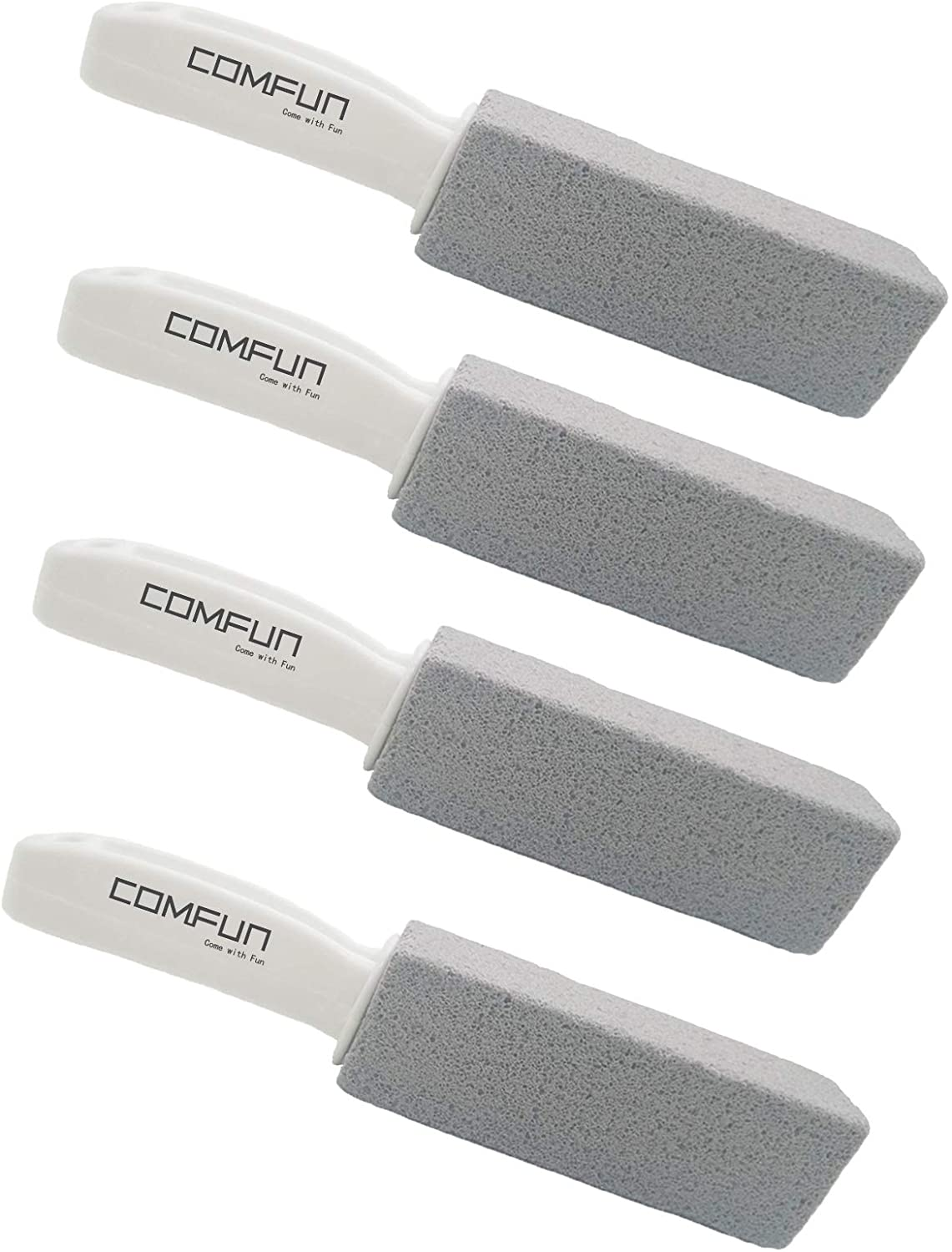 Comfun Pumice Stone for Cleaning Toilet Bowl with Handle, Pumice Stick Pumice Scouring Pad for Cleaning, 4 Pack