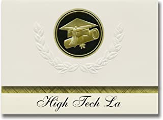 Signature Announcements High Tech La (Van Nuys, CA) Graduation Announcements, Presidential style, Elite package of 25 Cap & Diploma Seal. Black & Gold.