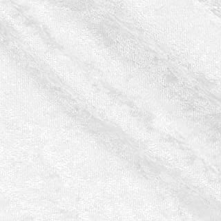 Crushed Panne Velour Fabric White by the yard or wholesale - 1 Yard