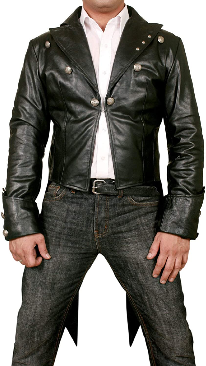 Motorcycle Leather Jacket, Biker Racer Leather Tail Style Coat