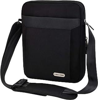 UBAYEE Bolso Hombre Bandolera de Lona con Multibolsillos (Compatible con 10,5 Pulgadas iPad Tablet, 25 cm), Negro
