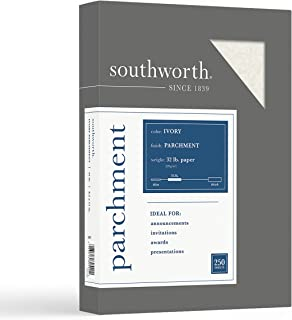 "$27 » Southworth Parchment Paper, 8.5"" x 11"", 32 lb/120 GSM, Ivory, 250 Sheets - Packaging May Vary (SOUJ988C)"