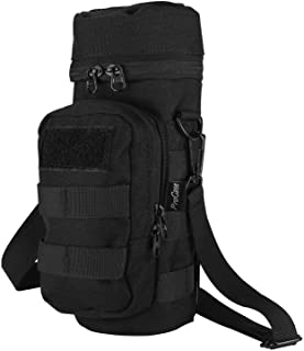 ProCase Water Bottle Pouch, Tactical MOLLE Hydration Carrier Bag with Extra Accessory Pouch and Detachable Shoulder Strap -Black