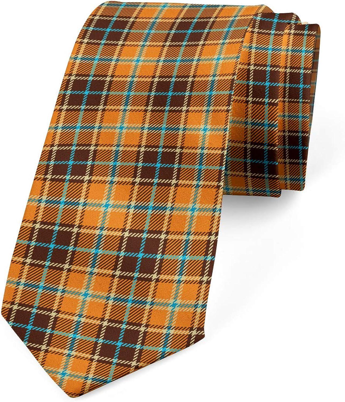 Ambesonne Men's Tie, Tartan in Earth Tones, Necktie, 3.7